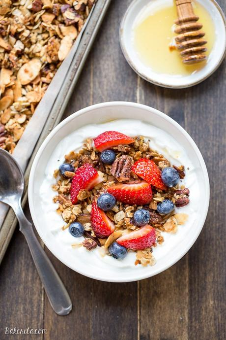 This crunchy Protein Granola gets a major dose of protein & fiber from a secret ingredient - lentils! This gluten-free & vegan granola is a delicious and filling breakfast or snack.