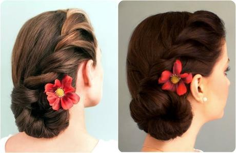 Rope braided side bun hairstyle