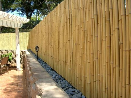 using bamboo fencing rolls as wall coverings
