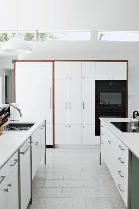 Contemporary Whte Kitchen With White Quartz Countertops
