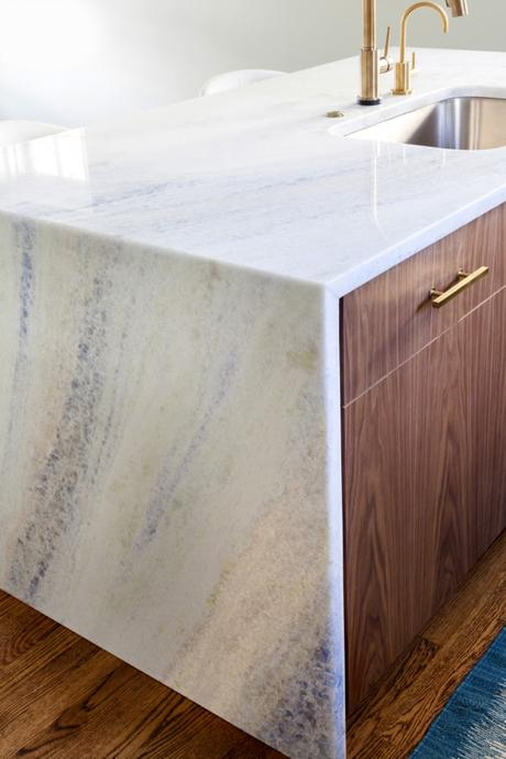 Aquias Blue Quartzite Island With Waterfall Edge And Brass Hardware