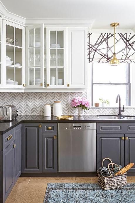 Quartz Countertops Grey Kitchen Cabinets Kelly Wearstler Roman SHade
