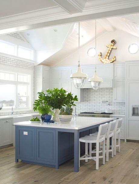 Kitchen With Slate Blue Island And WHite Cabinets By Coastal Living