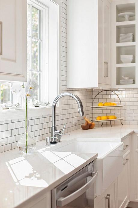 Misty Carrera Caesarstone Quartzite Countertop In Classic White Kitchen