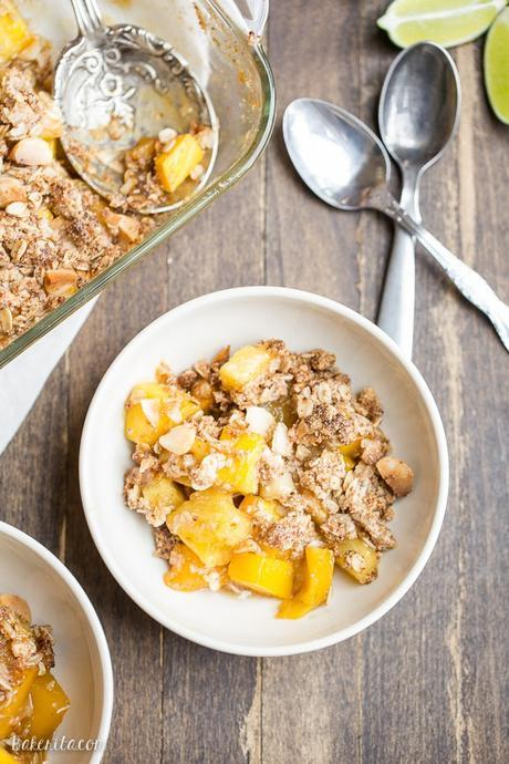 This Mango Pineapple Crumble has an irresistible coconut macadamia nut crumble topping. This is a gluten-free, vegan, and refined sugar free crumble that will bring your tastebuds to the tropics!