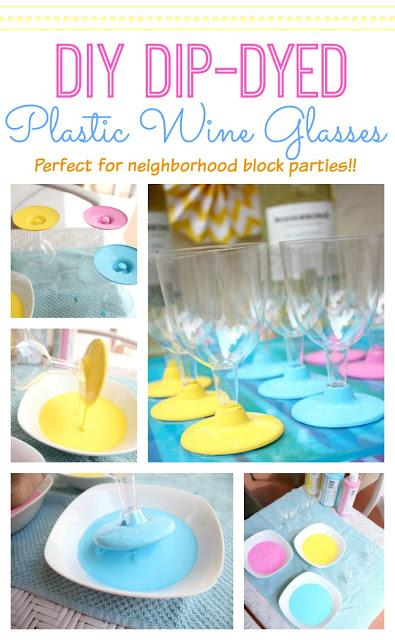 Msg for 21+: DIY dip-dye plastic wine glasses add a touch of fun to your next block party! #VinoBlockParty #ad