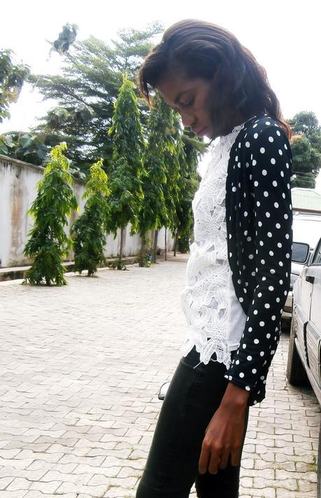 Weekend Style // Lace and Polka Dots Cardigan