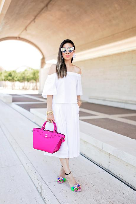 All White and a Pop of Pink