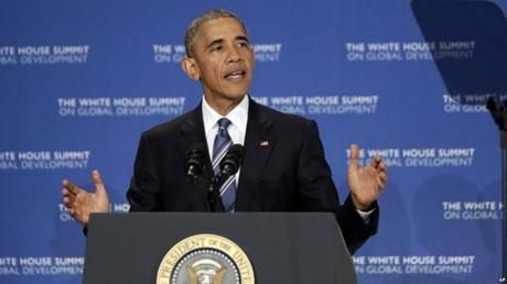 President Obama addresses the White House Summit on Global Development (Photo: VOA)