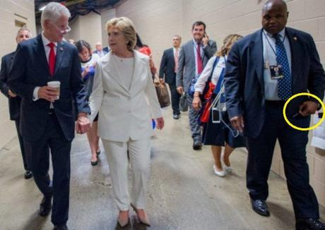 Hillary's body guard holding Diazepam pen