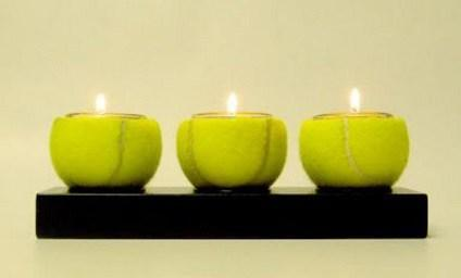 Tennis Balls Transformed Into Candle Holders