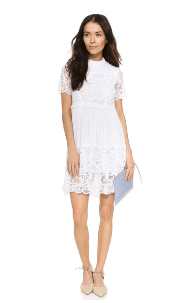 TREND SPOTTING: The White Lace Babydoll Dress with Black Boots for Fall 2016