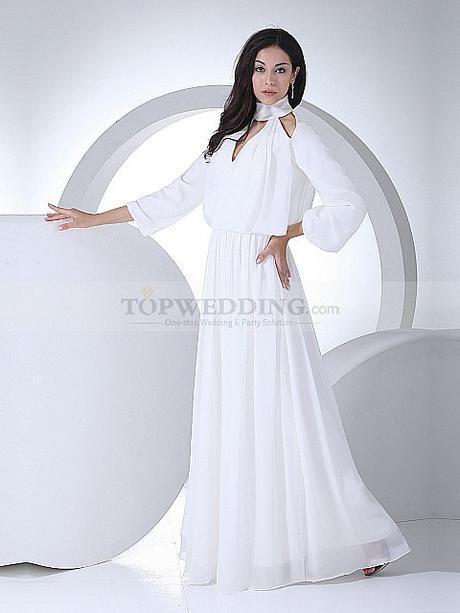 Neckline Long Sleeved Wedding Dress