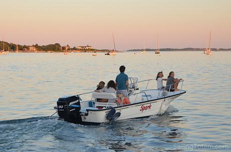 Daphne's crew departing just after sunset