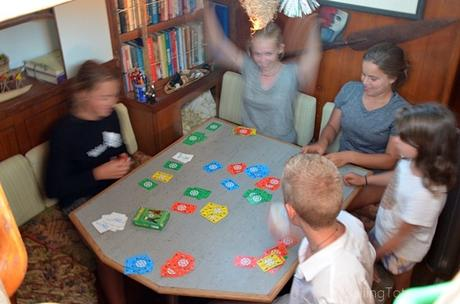 Dutch Blitz with new friends aboard Totem