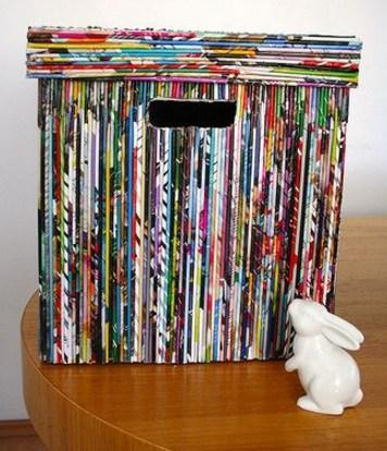 Old Magazines Used To Make a Storage Box