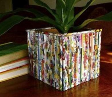 Old Magazines Used To Make a Plant Pot