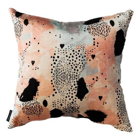 Stunning 'Leopard Love' cushion in peach by 17 Patterns.