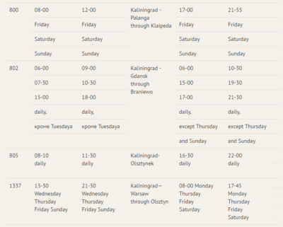 Bus times for bus from Gdańsk to Kaliningrad City.