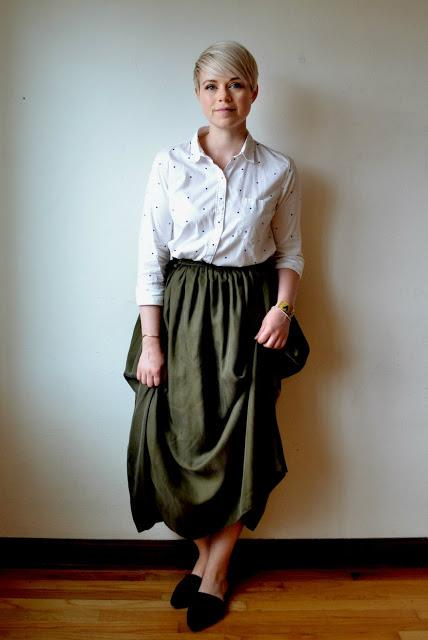 Look of the Day: Olive Silk Skirt & Polka Dot Blouse