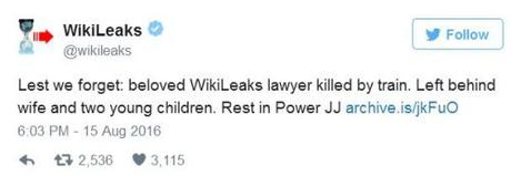 WikiLeaks tweet on dead lawyer