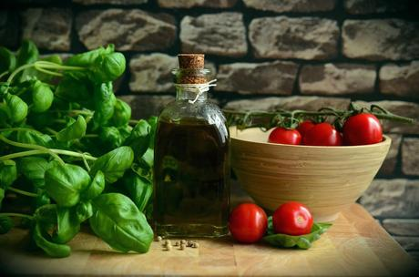 Fresh Greek Ingredients - tomatoes, olive oil, herbs