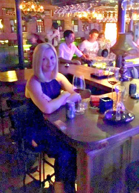 Nicole in a bar in china