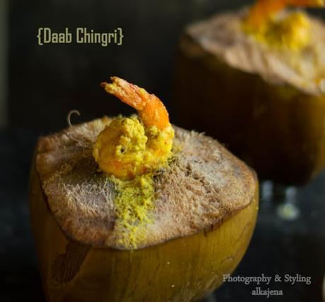 Daab Chingri ( Prawns Cooked inside Green tender coconut)