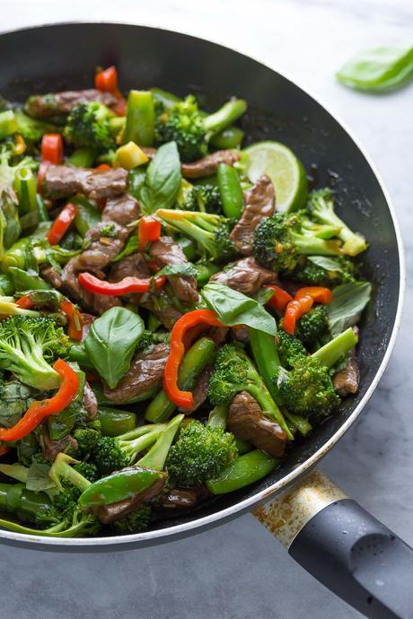 Lime Beef and Basil Stir Fry, a healthy 30 minute dinner recipe