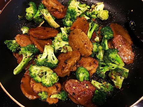 vegan Mongolian beef with broccoli