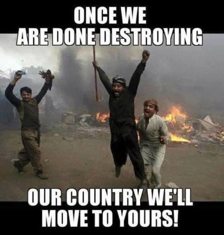 Muslim refugees destroy