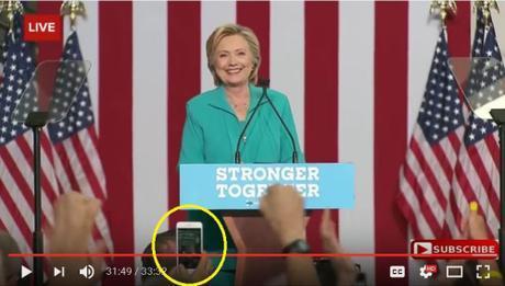 smart phone image of Hillary's Reno speech, Aug. 25, 2016