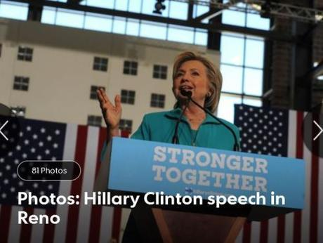 RGJ photo of Hillary speaking in Reno, Aug. 25, 2016.