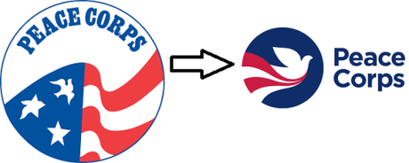 old vs. new Peace Corps logo