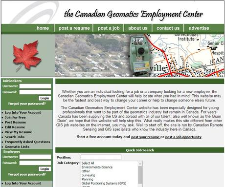 what the GISjobs.ca web site looked like back in 2005