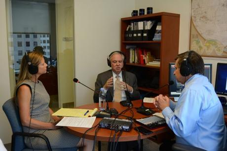 Guest Dr. Kim Holmes (center) with hosts Jennifer Anderson and Ken Jaques.