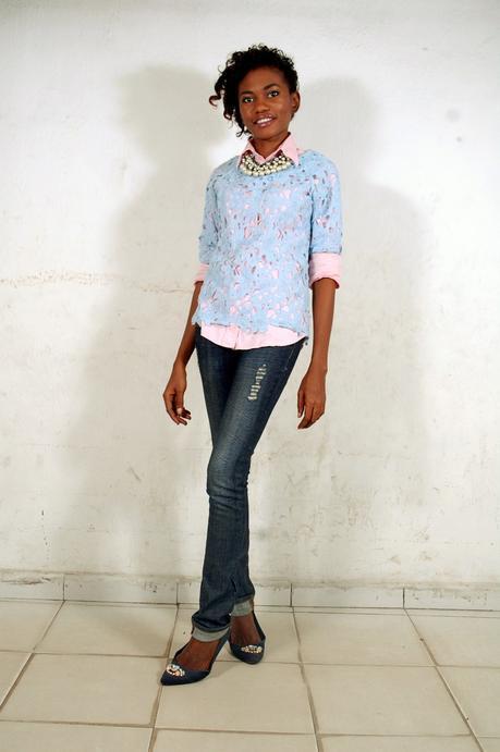 Off-Duty Style // Pastel Blue Crotchet Lace Shirt