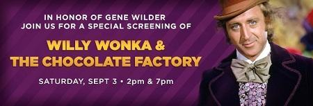 Gene Wilder's Willy Wonka & The Chocolate Factory on the big screen Saturday at Regal