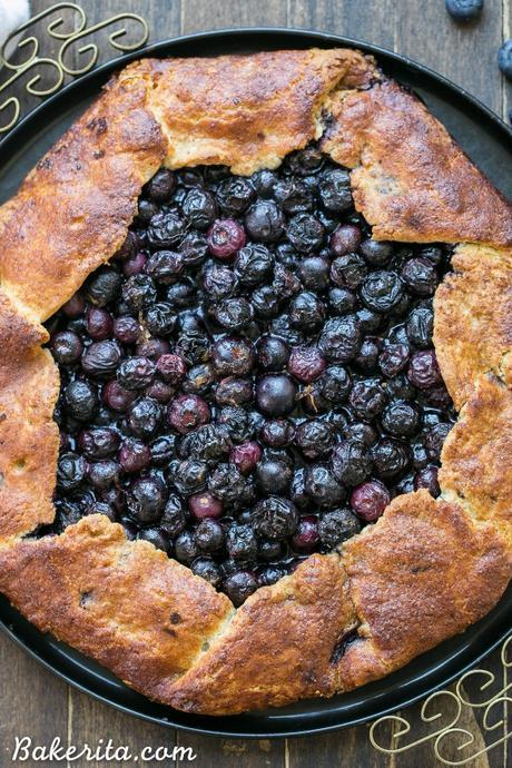 This Blueberry Galette is a delicious dessert that's easier to make than a pie, with the same fruity filling and super flaky crust. This healthier dessert is gluten free, Paleo-friendly, and refined sugar free.