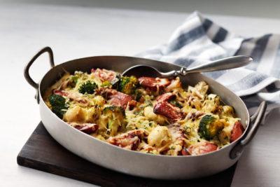 Broccoli and Cauliflower Gratin with Sausage