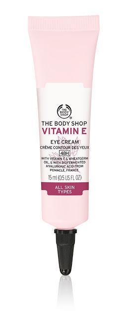 NEW VITAMIN E SKINCARE RANGE FROM THE BODY SHOP 48H MOISTURE FOR THIRSTY SKIN NEW VITAMIN E NOW BOOSTED BY 100% NATURAL ORIGIN HYALURONIC ACID