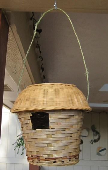 Birdhouse Made From a Wicker Bin