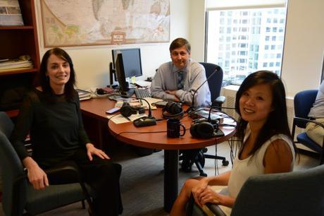 Podcast guest Gina Chon (left) with hosts Julie Johnson and Ken Jaques.