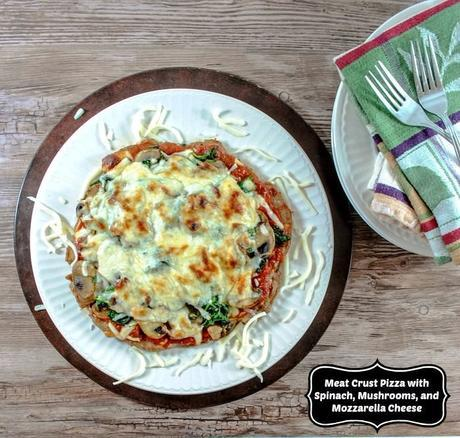 5 Ingredient Meat Crust Pizza with Spinach, Mushrooms, and Mozzarella Cheese