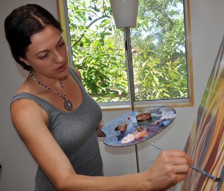 Portland artist Cedar Lee painting