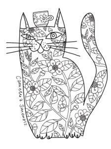 Camellia Cat with Tea Cup. Free Colouring Page. Cat Colouring Book