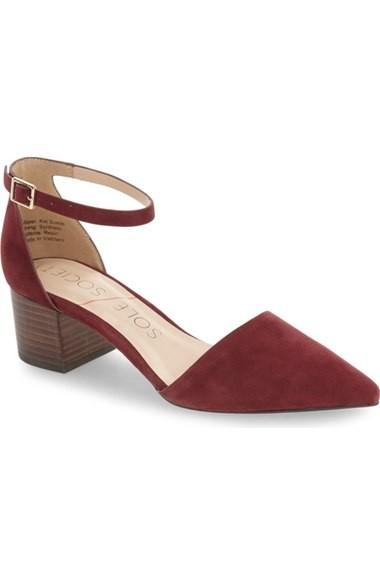 red ankle strap suede pump