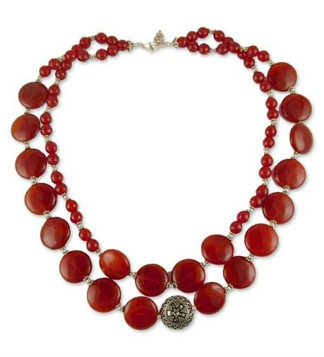 chunky Carnelian and silver necklace