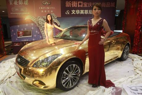 A luxury gold plated car