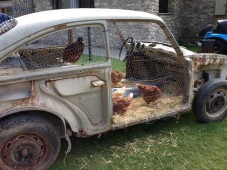 Chicken Coop Made From a Car